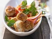 Thai shrimp balls with a papaya and pepper salad