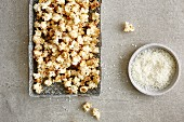 Homemade exotic coconut popcorn with cinnamon and ginger