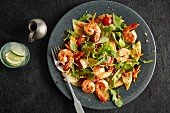 Prawn salad with pineapple, rocket and lettuce