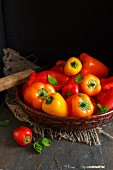 Sweet Crunchy Colorful Peppers on a Vintage Rustic Setup
