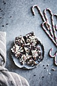 All-natural dark chocolate peppermint bark with cacao nibs and flaky salt