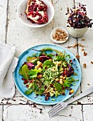 Broccoli salad with chickpeas and pomegranate seeds