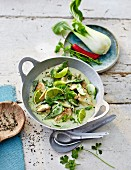 Green curry with matcha tea and lime