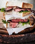 Roast beef sandwich with lettuce