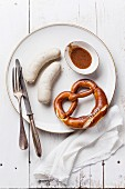 Bavarian snack with weisswurst white sausages