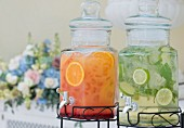 Continuous brewing jar with tap, holidng orange juice and lime water