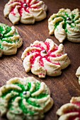 Crown Shaped Cookie Press Holiday Cookies with Colored Sugar Decoration