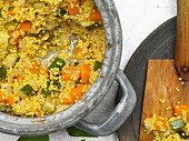 Millet with zucchini and carrots (close up)