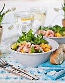 Avocado, mango and prawn salad with lamb's lettuce