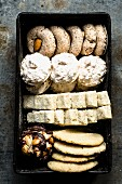 Various Christmas biscuits (almond biscuits, macaroons, shortbread, florentines)