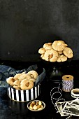 Almond biscuits in a biscuit tin