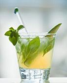 Herb infused rum-vodka cocktail