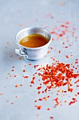 Chilli flakes and chilli sauce