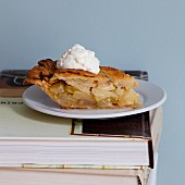 A slice of apple and cheddar pie