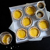 Chinese egg tarts and coffee