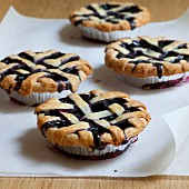 Blueberry pies with dough lattice
