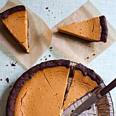 Sweet potato pie, sliced