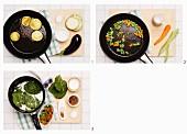 Auberginentörtchen mit Spinat zubereiten