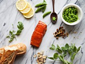 Ingredients for Salmon Crostini with Mashed Peas