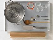 Kitchen utensils for making oat crunchies