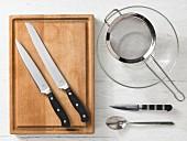 Kitchen utensils for making bread rolls with ricotta