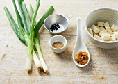 Collection of ingredients to make miso soup using an instant dashi stock