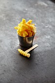 French fries in a metal bowl