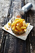 Chips in deep-frying basket