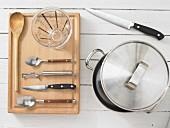 Kitchen utensils for making lentils