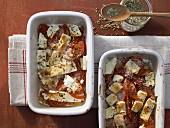 Gebackener Schafskäse mit Tomaten und Paprika