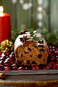 Fruit cake with cranberries for Christmas