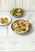 Gnocchi mit gebratenen Pilzen, Zucchini und Blauschimmelkäse
