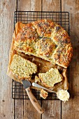 Yeast cake with courgette and parmesan