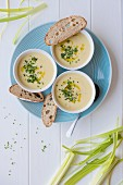 Vichyssoise soup (creamy leek and potato) with olive oil, fresh chive and sour dough bread