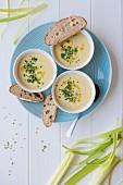 Vichyssoise (cremige Kartoffel-Lauch-Suppe) mit Olivenöl, frischem Schnittlauch und Sauerteigbrot