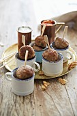 Mini meatballs on wooden skewers