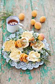 Rosemary sticks with camembert and apricots