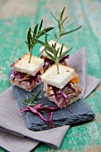 Tramezzini with red cabbage and rosemary
