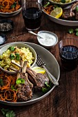 Lamb Rack with Spiral Carrots and Coconut Pilaf