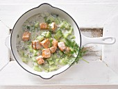 Salmon and cucumber with dill and aniseed liqueur