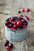 Cranberries in a pewter pot
