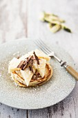 Pancakes with pineapple, coconut and chocolate