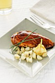 Marinated chicken breast with pears