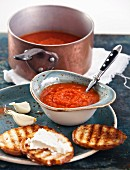 Tomato soup Gazpacho in blue bowl
