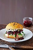 Black bean burger with blackberry chutney and blue cheese