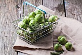 Food basket of brussels sprouts and rosemary on old wooden table