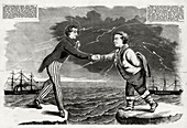 Transatlantic telegraph cable, cartoon