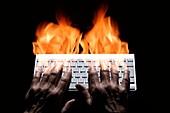 Internet aggression, conceptual image