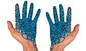Cyborg hands, conceptual image