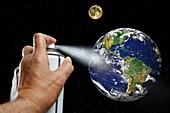 Ozone layer destruction, conceptual image